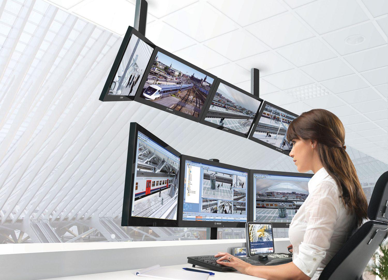 bvms surveillance woman screen computer monitor office